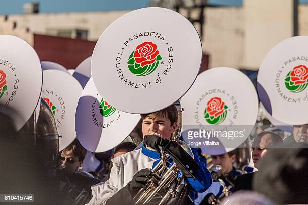 Rose Parade in Pasadena CA marching band performing