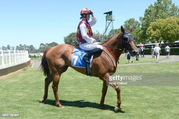 Rose Pearson returns to the mounting yard on Back in a Flash after winning Blacky's Bucks Maiden Plate at Yarra Valley Racecourse on February 04 2017...