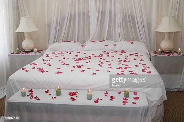 Rose petal bed.