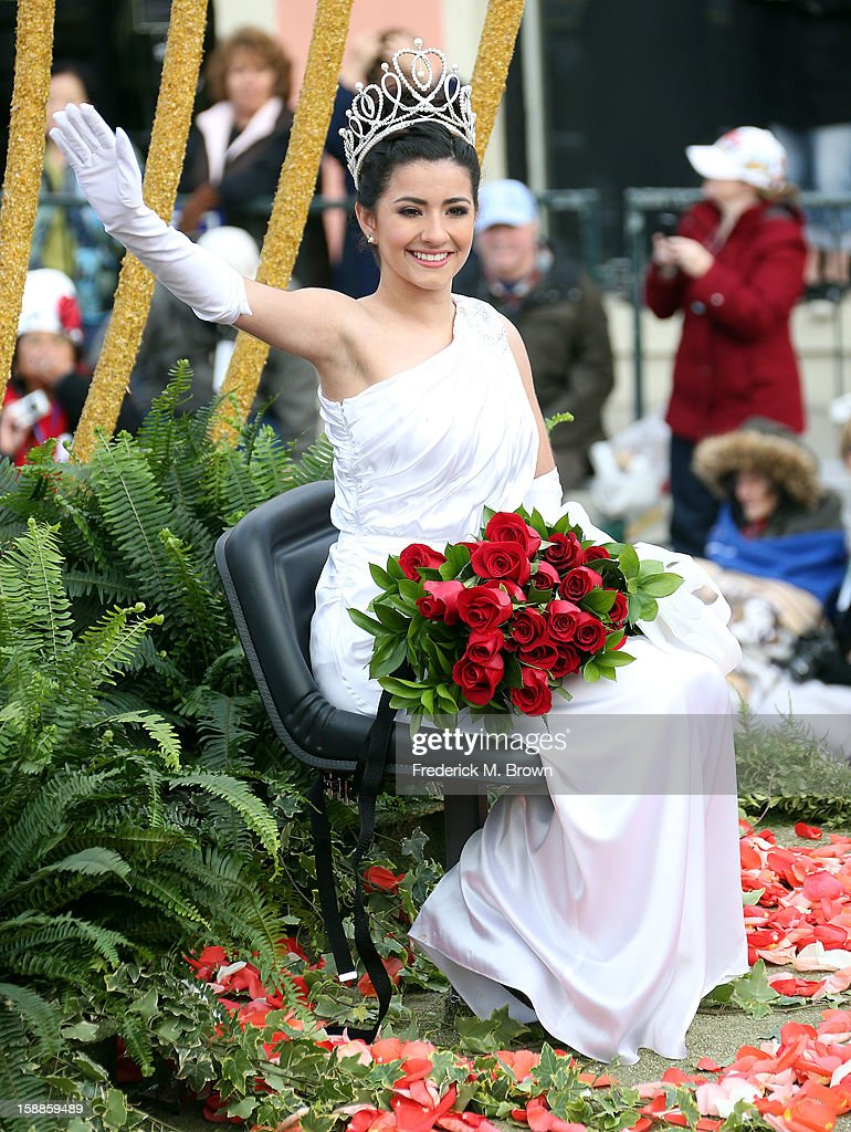 Rose Queen Vanessa Natalie Manjarrez waves on the parade route during the 124th Rose Parade Presented By Honda on January 1, 2013 in Pasadena, California.