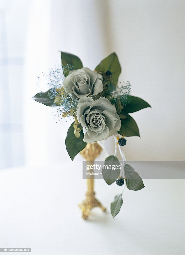 Rose, raspberry and baby's breath arranged in gold vase by window : Stock Photo