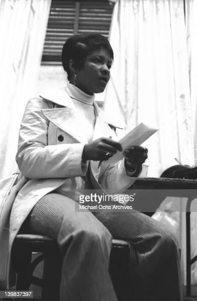 Rose Stone of the psychedelic soul group 'Sly And The Family Stone' rehearsing for a performance on the TV show 'Kraft Music Hall' on June 27 1968 in...