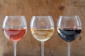 Rose, white and red wines in glasses