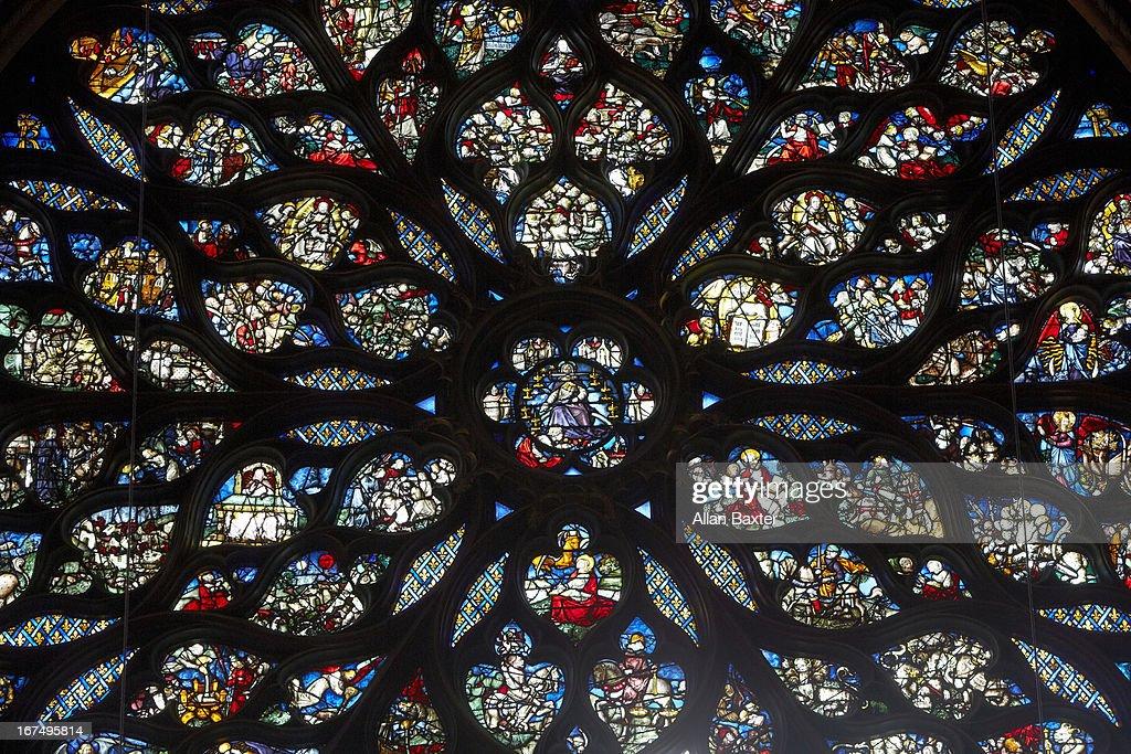 Rose window of Sainte-Chapelle gothic chapel : Stock Photo
