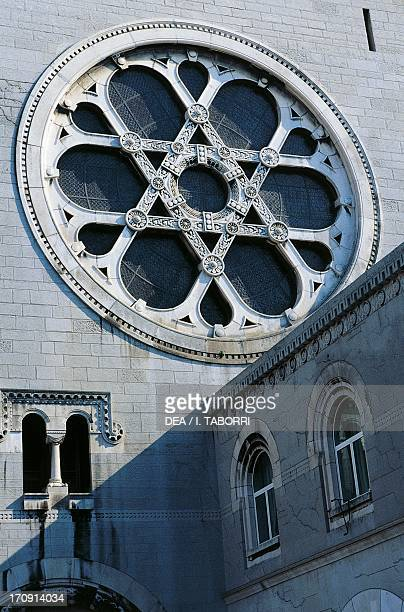 Rose window with a Star of David detail from the Synagogue 19081912 designed by Ruggero Berlam and Arduino Berlam Trieste FriuliVenezia Giulia Italy
