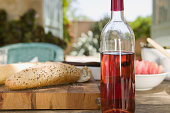 Rose wine and bread