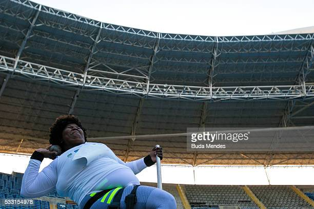 Roseane Ferreira of Brazil competes the Women's Shot Put F57 Final during the Paralympics Athletics Grand Prix Aquece Rio Test Event for the Rio 2016...