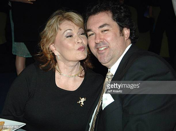 Roseanne Barr and guest during 2005 TV Land Awards Backstage at Barker Hangar in Santa Monica California United States