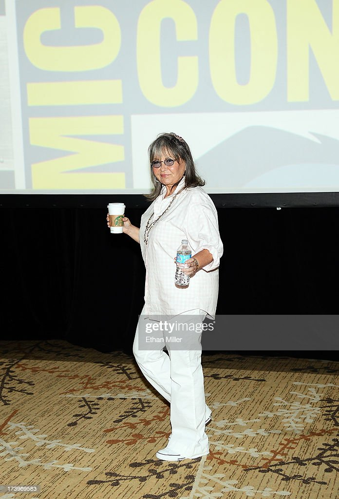 <a gi-track='captionPersonalityLinkClicked' href=/galleries/search?phrase=Roseanne+Barr&family=editorial&specificpeople=228388 ng-click='$event.stopPropagation()'>Roseanne Barr</a> attends the Comedy Legends of TV Land panel during Comic-Con International 2013 at the Hilton San Diego Bayfront Hotel on July 18, 2013 in San Diego, California.