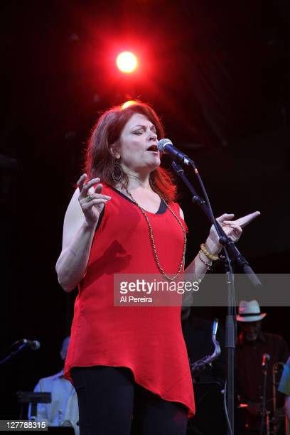 Roseanne Cash performs as part of Hal Wilner's Freedom Rides Project at Celebrate Brooklyn at the Prospect Park Bandshell on June 16 2011 in the...