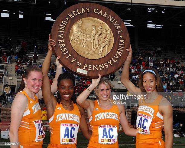 RoseAnne Galligan LaTonya Loche Sarah Bowman and Leslie Treherne of Tennessee pose after winning the Championship of America women's distance medley...