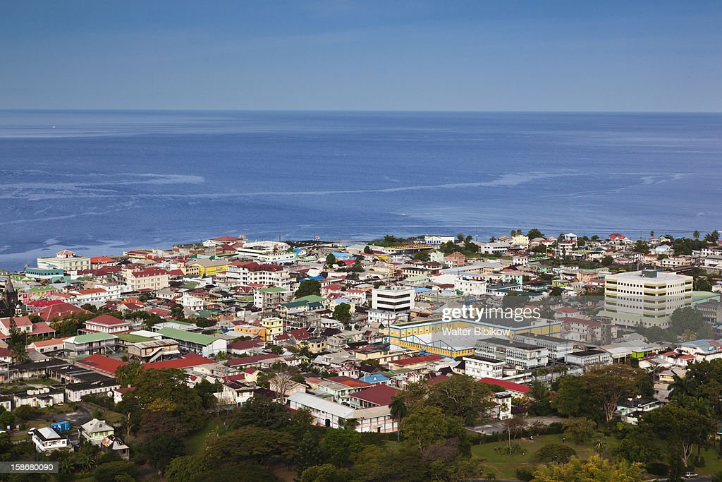 Roseau, elevated town view, morning : Stock Photo