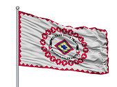 Rosebud Reservation Indian Flag On Flagpole, Isolated On White Background, 3D Rendering