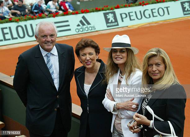 Roseline Bachelot and Christian Bimes and Cyrielle claire attend the woman semifinale of Roland Garros in Paris France on June 072007