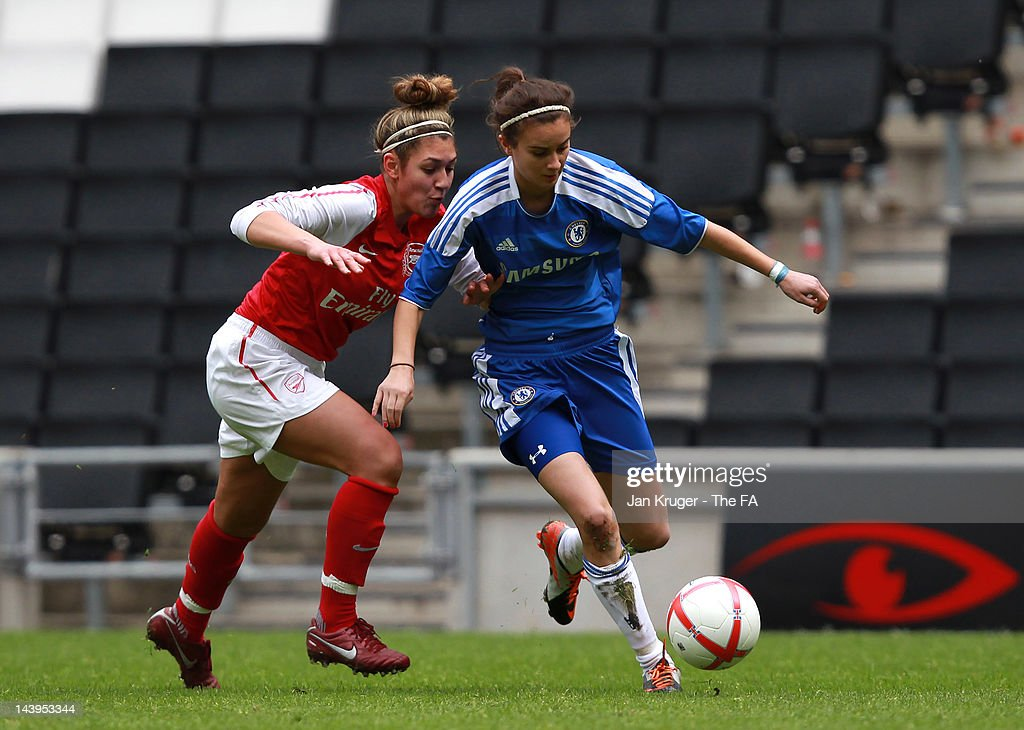 Rosella Ayane of Chelsea battles with Jade Bailey of Arsenal during the FA Girls' Youth Cup U17s Centre of Excellence Final between Arsenal and Chelsea at Stadium MK on May 6, 2012 in Milton Keynes, England.