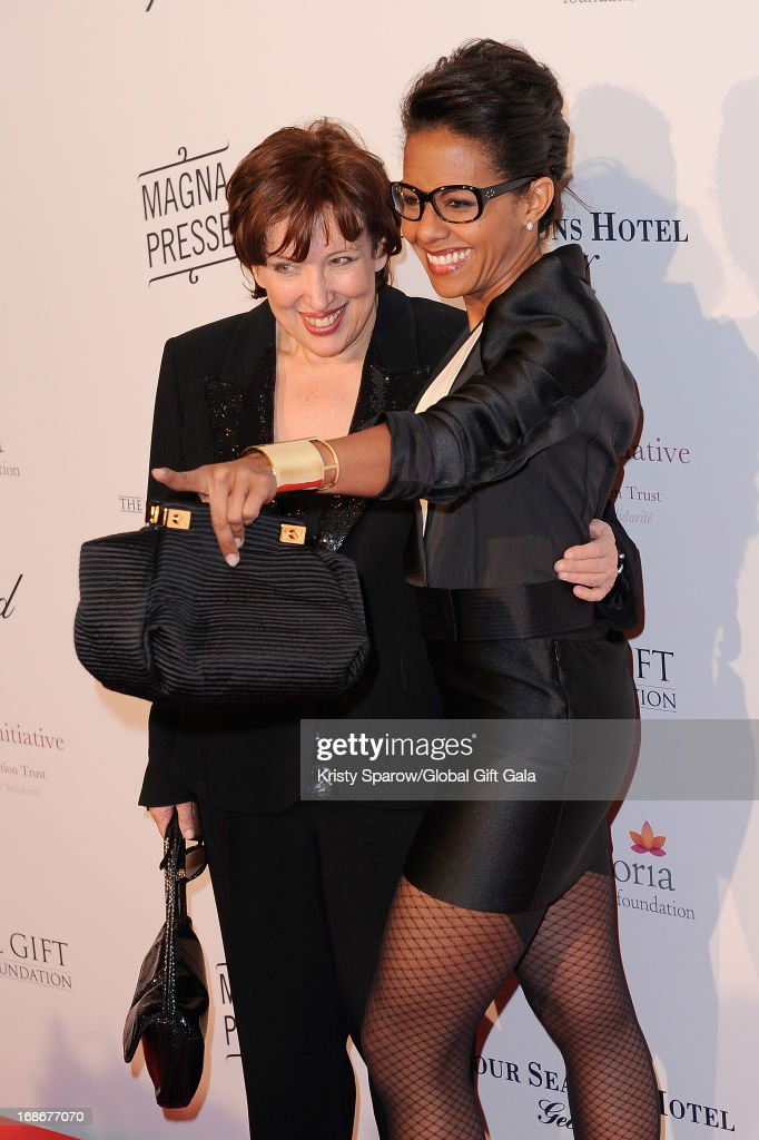 Roselyne Bachelot and Audrey Pulvar attend the 'Global Gift Gala' at Hotel George V on May 13, 2013 in Paris, France.
