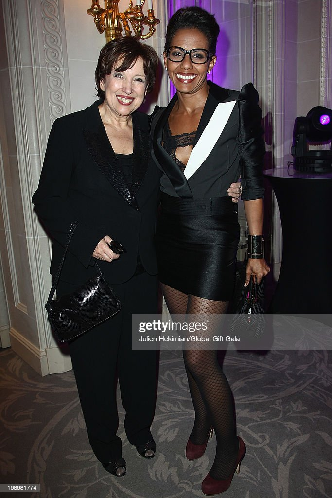 Roselyne Bachelot (L) and Audrey Pulvar attend the 'Global Gift Gala' at Hotel George V on May 13, 2013 in Paris, France.
