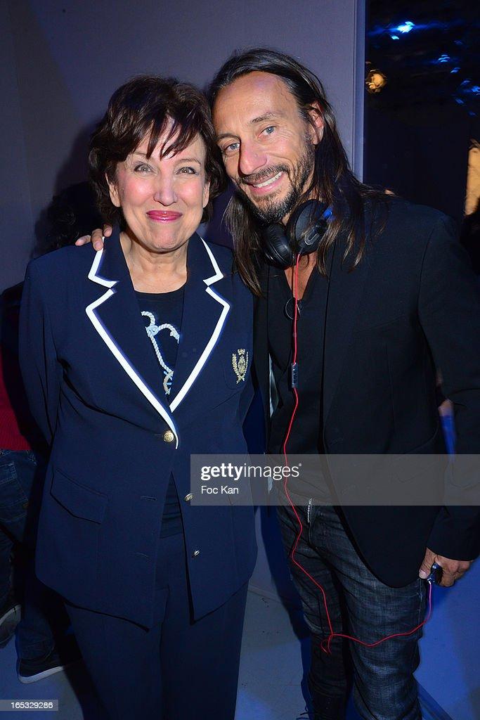 Roselyne Bachelot and Bob Sinclar attend the 'Paris By Night' Bob Sinclar CD Launch Concert Party At La Gaite Lyrique on April 2, 2013 in Paris, France.