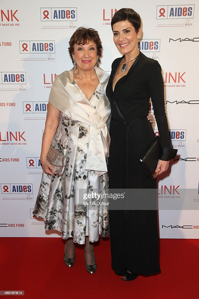 Roselyne Bachelot and Cristina Cordula attend the AIDES' Party At Palais D'Iena In Paris on December 8 2014 in Paris France