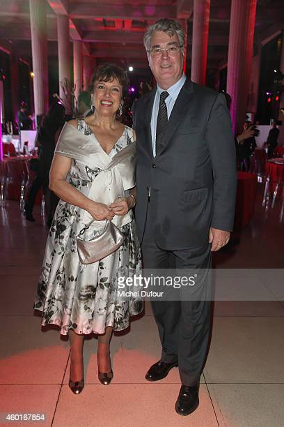 Roselyne Bachelot and Jean Paul Delevoye attend the AIDES' Party At Palais D'Iena In Paris on December 8 2014 in Paris France