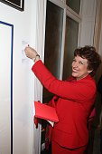 Roselyne Bachelot attends the 'Art Is Hope' Press Preview In Paris on December 3 2014 in Paris France
