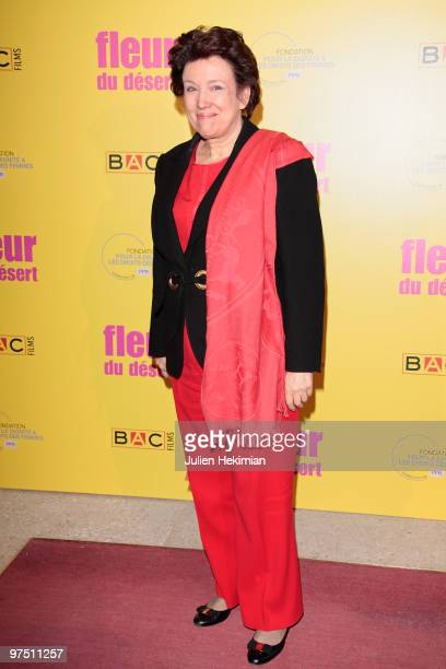 Roselyne Bachelot attends the 'Fleur du Desert' Paris premiere at Theatre Marigny on March 7 2010 in Paris France