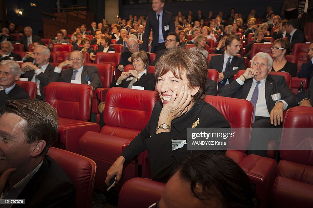Roselyne Bachelot attends the LCI TV's talk show broadcast live on the website TF1 NEWS which airs Director of IMF Christine Lagarde on October 16, 2012 in Boulogne Sur Seine, France.