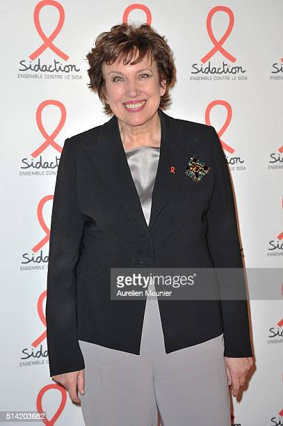 Roselyne Bachelot attends the Sidaction 2016 Launch party photocall at Musee du Quai Branly on March 7 2016 in Paris France