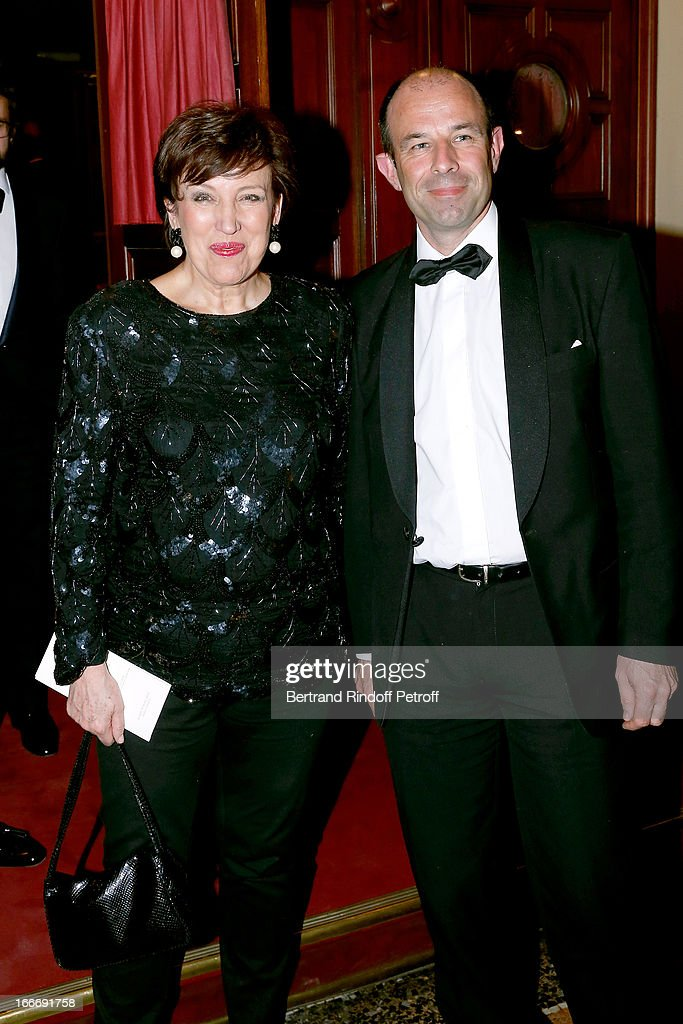 Roselyne Bachelot Narquin and Christophe Tardieu attend Tricentenary of the French dance school, AROP Gala, at Opera Garnier on April 15, 2013 in Paris, France.
