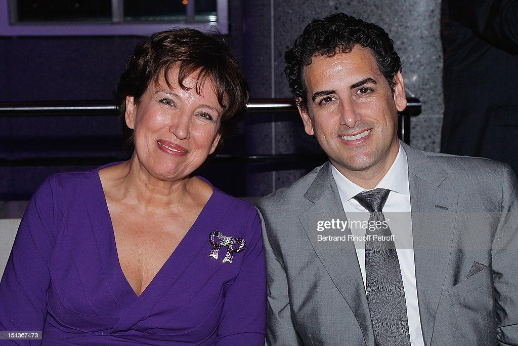 Roselyne Bachelot Narquin (L) and tenor Juan Diego Florez, attend AROP Gala Dinner on October 18, 2012 in Paris, France.