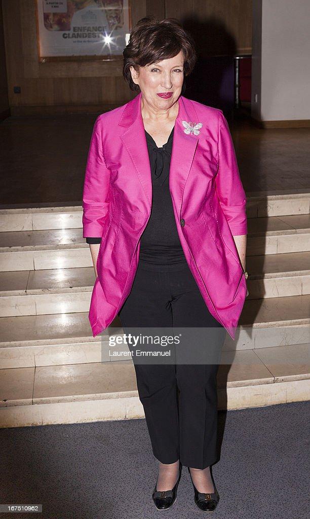 Roselyne Bachelot Narquin attends 'Alias Caracalla' Paris Premiere at Cinema l'Arlequin on April 25, 2013 in Paris, France.