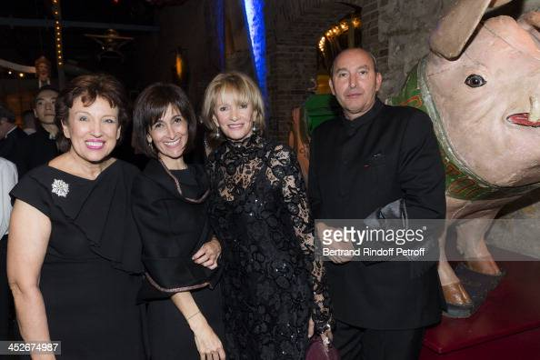 Roselyne Bachelot Narquin Dina Kawar Eve Ruggieri and her companion sculptor Rachid Khimoune attend the Mimi Foundation gala dinner at Musee des Arts...