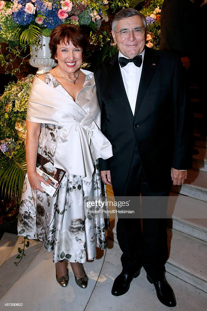 Roselyne Bachelot-Narquin and AROP President Jean-Louis Beffa attend the AROP Charity Gala with Opera 'L'enlevement au Serail' from Mozart at Opera Garnier on October 16, 2014 in Paris, France.