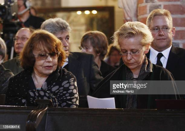 RoseMarie von Buelow widow of late German comedian Vicco von Buelow and her daughter Susanne attend the memorial service to honor Vicco von Buelow at...