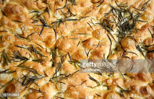 Rosemary and sea salt focaccia, full frame : Stock Photo