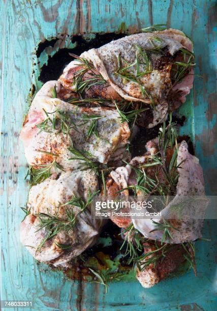 Rosemary chicken being marinated
