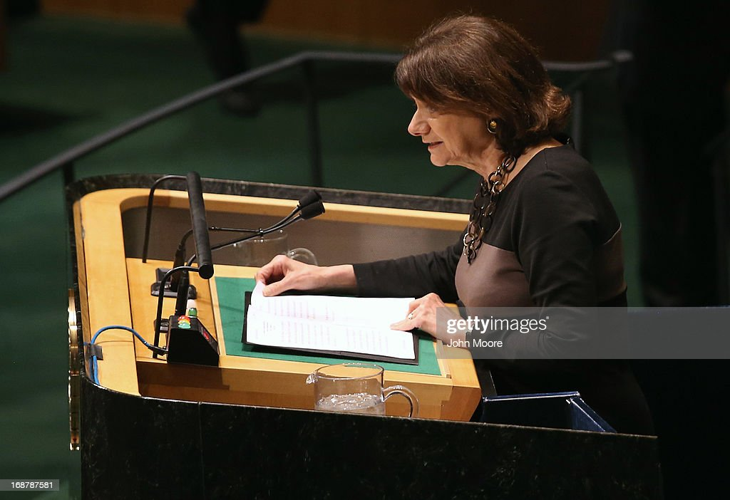 Rosemary DiCarlo, the U.S. Deputy Permanent Representative to the United States, states American support for a UN resolution calling for a political transition in Syria on May 15, 2013 in New York City. The 193-member UN General Assembly was to vote on an Arab-backed resolution condemning the regime of Syrian President Bashar Assad for human rights abuses and its escalating use of heavy weapons in the country's civil war.