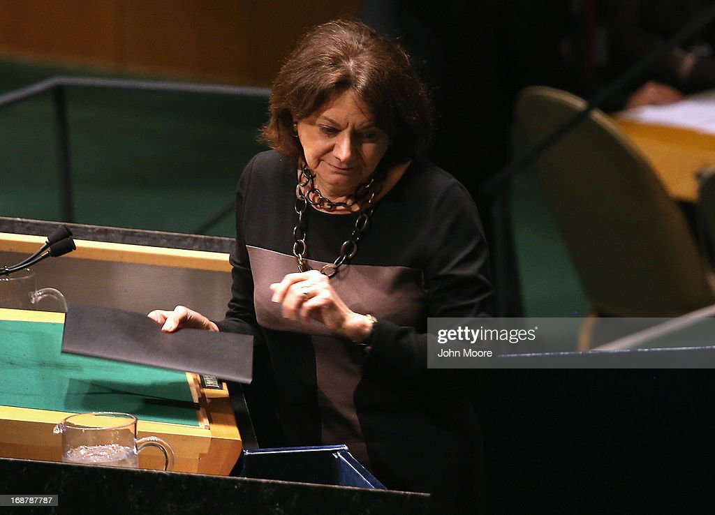 Rosemary DiCarlo, the U.S. Deputy Permanent Representative to the United States, finishes her speech detailing American support for a UN resolution calling for a political transition in Syria on May 15, 2013 in New York City. The 193-member UN General Assembly was to vote on an Arab-backed resolution condemning the regime of Syrian President Bashar Assad for human rights abuses and its escalating use of heavy weapons in the country's civil war.
