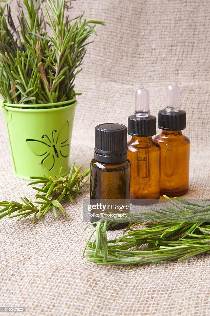 Rosemary aceite esencial : Foto de stock