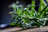 Rosemary. Fresh rosemary herbs. Scissors cut herbs fresh rosemary. Organic aromatic herbs.