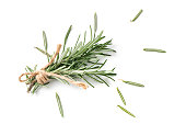rosemary isolated on white background and top view, Spices for cook food