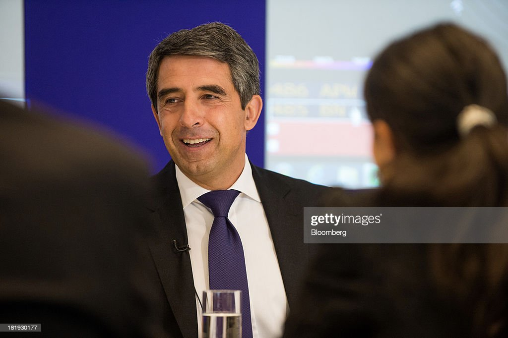 <a gi-track='captionPersonalityLinkClicked' href=/galleries/search?phrase=Rosen+Plevneliev&family=editorial&specificpeople=6873737 ng-click='$event.stopPropagation()'>Rosen Plevneliev</a>, president of Bulgaria, smiles during an interview in New York, U.S., on Thursday, Sept. 26, 2013. Plevneliev, formerly the minister of Regional Development and Public Works, has been president since 2012 when he was elected after a second round of voting. Photographer: Craig Warga/Bloomberg via Getty Images