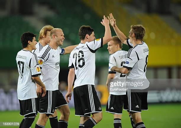 Rosenborg BK celebrate a goal during the UEFA Europa League group stage match between SK Rapid Wien and Rosenborg BK on September 20 2012 at the...