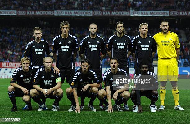 Rosenborg BK players pose for a team picture during the UEFA Europa League group B match between Atletico Madrid and Rosenborg at the Vicente...