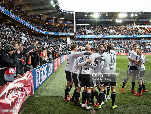 Rosenborg celebrates goal at the Norwegian Cup Final at Ullevaal Stadion on November 22 2015 in Oslo Norway