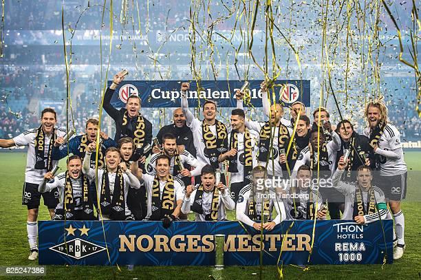 Rosenborg with Trophy celebrates victory after Norwegian Cup Final Kongsvinger v Rosenborg at Ullevaal Stadion on November 20 2016 in Oslo Norway