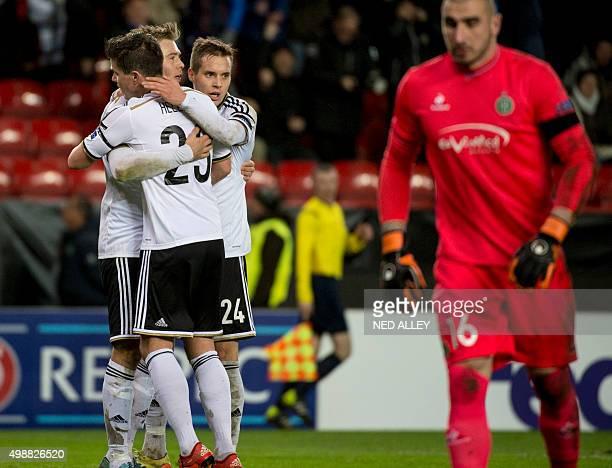 Rosenborg's Alexander Toft Soederlund celebrates the 10 goal during the UEFA Europa League football match Rosenborg vs SaintEtienne in Trondheim...