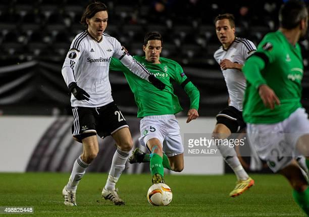 Rosenborg's Ole Kristian Selnæs and SaintEtienne's Vincent Pajot vie during the UEFA Europa League football match Rosenborg vs SaintEtienne in...