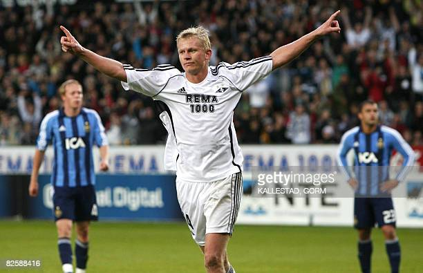 Rosenborg's Steffen Iversen celebrates one of his three goals in the Champion's League second qualifying round second leg soccer match against...