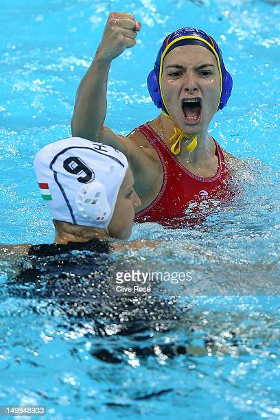 Roser Tarrago Aymerich of Spain celebrates a goal in the Women's Water Polo semifinal match between Spain and Hungary at the Water Polo Arena on...